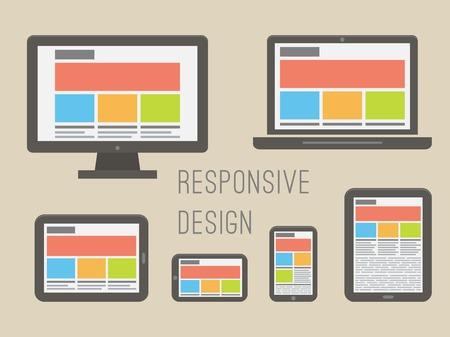 Responsive Webdesign auf verschiedenen elektronischen Geräten. Wohnung Stil Vektor-Illustration