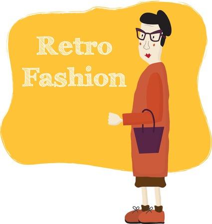 zapatos caricatura: Mujer de edad avanzada la historieta que lleva gafas de moda, ilustración vectorial