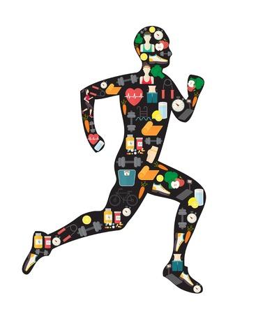 Running man silhouet gevuld met sport iconen.