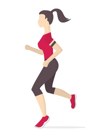 Keeping fit exercises and jogging. Vector illustration.