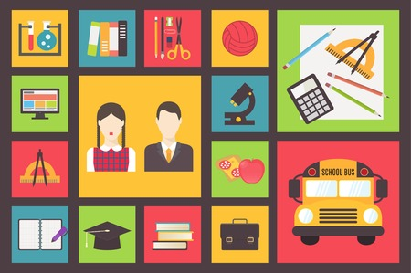 vector school: Back to school elements, vector icons set, flat design illustration. Illustration