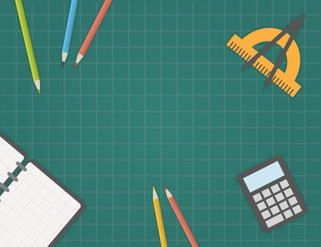 Back to school, desk with school supplies. School template. Vectores