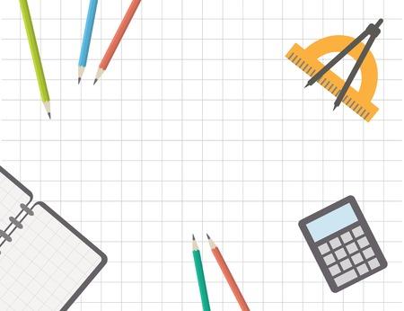 Back to school, desk with school supplies. School template. Illustration