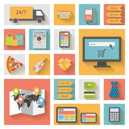 purchases: Internet shopping elements, e-commerce and online purchases. Illustration