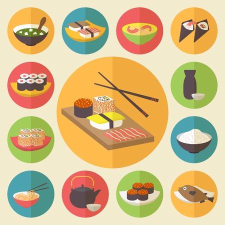 japanese sake: Sushi, comida japonesa, iconos vectores conjunto de alimentos.