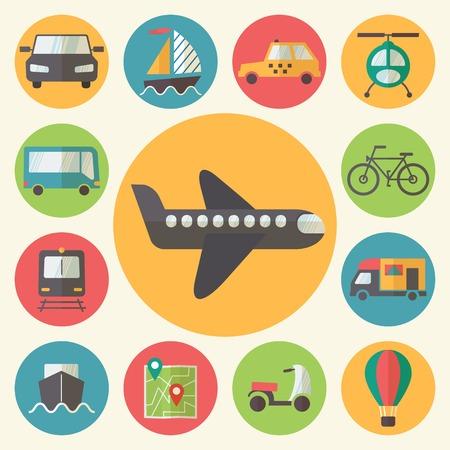 tallship: Transportation icons set, flat design vector illustration.