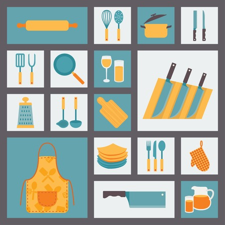 pot holder: Kitchen and cooking icons set, kitchenware and utensils icons. Illustration