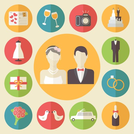 Wedding icons set, flat design vector illustration.