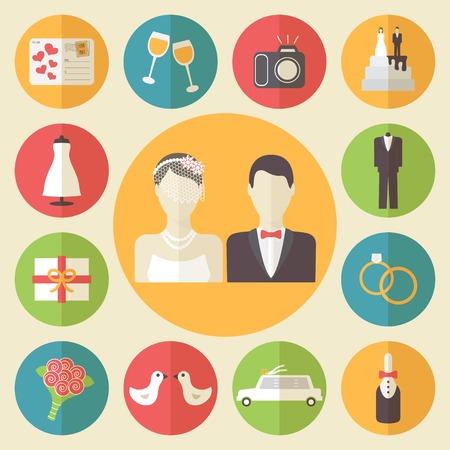 wedding heart: Wedding icons set, flat design vector illustration.