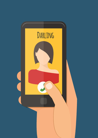 Hand holding mobile, calling girlfriend. Mobile app vector illustration.