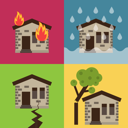 Home insurance business set vector illustration with house icons suffering from nature disaster. Layout template for infographics. Çizim