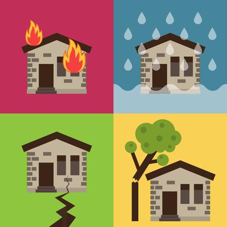 incendio casa: Negocio de seguros de hogar establece ilustración vectorial con iconos de la casa que sufren de la naturaleza del desastre. Plantilla de diseño de infografías. Vectores