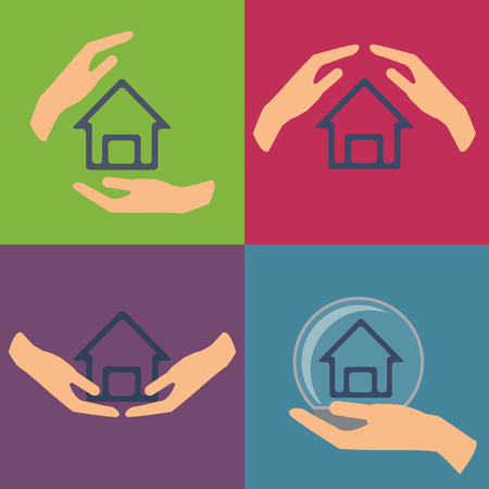 home insurance: Home insurance set vector illustration with house and hands.