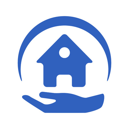 hands holding house: Home insurance vector logo with house and hands