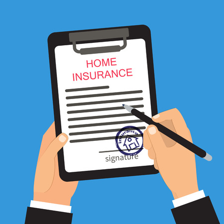signing: Home insurance vector illustration. Hands holding and signing document Illustration