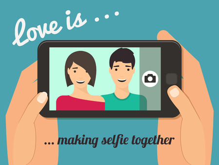 Love is Couple taking selfie together. Hand holding smartphone vector illustration. Çizim