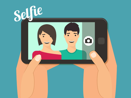 Couple in love taking selfie together. Hand holding smartphone vector illustration. 向量圖像