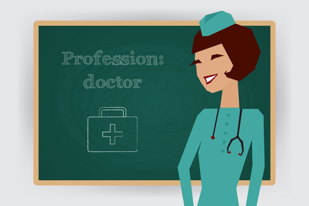 cartoon nurse: Occupation, doctor profession. Woman in medical uniform standing at chalk board. Vector illustration