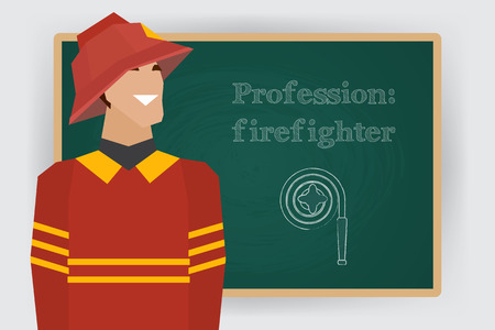 dept: Occupation, firefighter profession. Man in fire dept uniform standing at chalk board. Vector illustration