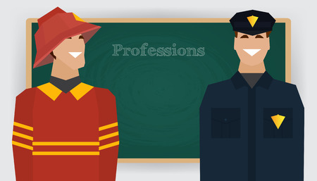dept: Occupation set, firefighter and policeman profession. Man in fire dept uniform standing at chalk board. Vector illustration