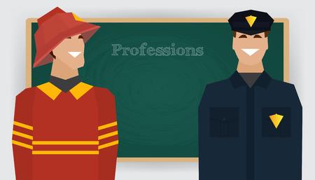 dept: Occupation set, firefighter and policeman profession. Man in fire dept uniform standing at chalk board. Vector illustration