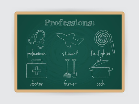 culinary tourism: Occupation set, firefighter, policeman, doctor, stewardess, cook and farmer profession. Job symbol on chalk board. Vector illustration