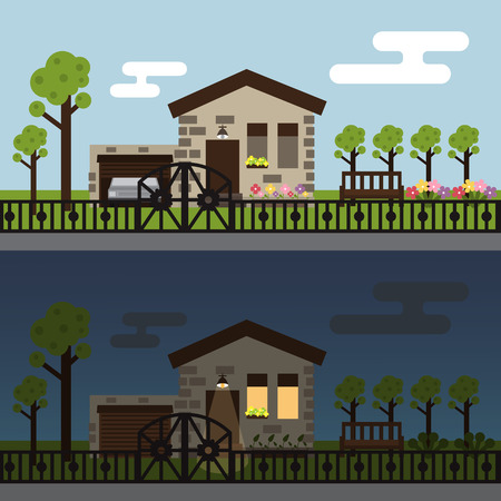 townhouse: Day and night townhouse landscape. Exterior design vector illustration. Illustration