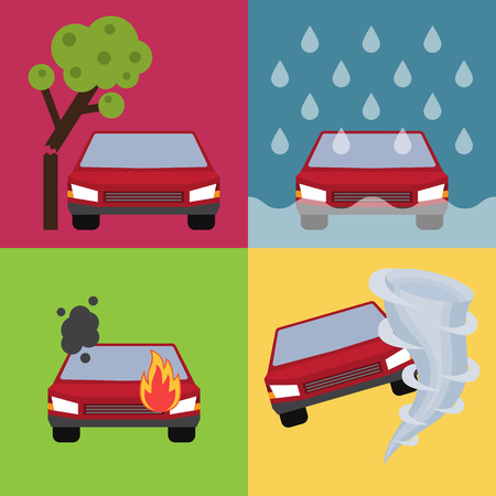 Auto insurance set vector illustration with cars suffering from nature disaster. Layout template for infographics.