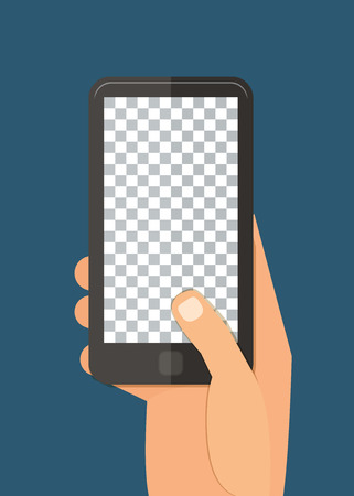Smartphone in hand template for web and mobile applications app. Vector flat design illustration