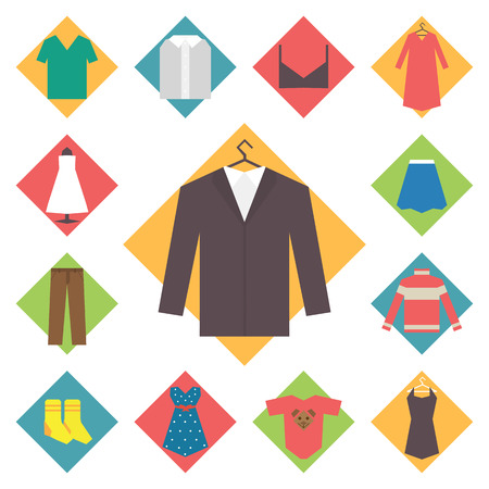 woman closet: Clothing icons set, shopping elements, flat geometric design vector Illustration