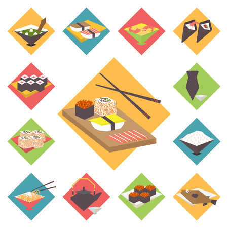sashimi: Sushi, Japanese cuisine. Asia food icon set with sushi rolls sashimi noodle miso. Isolated vector illustration flat design.