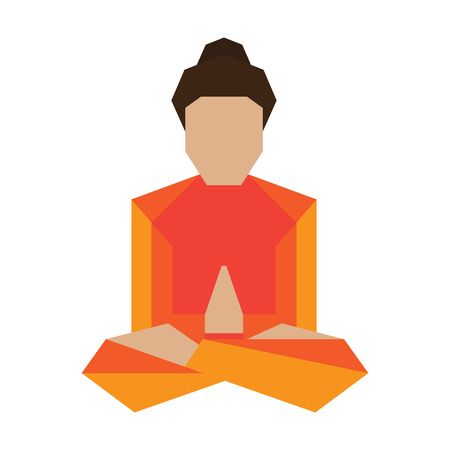yogi: Yogi man practicing asana in buddha lotus pose. Vector illustration.