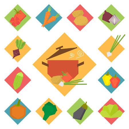 fruit and veg: Vegetable vector icons, food set for cooking, restaurant, menu, vegetables and vegetarian food. Flat design geometric