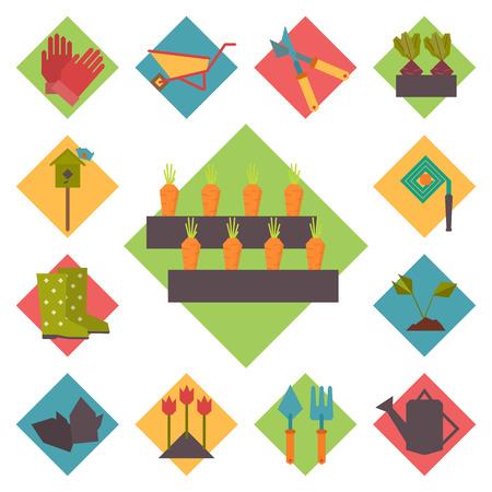 geometric style: Gardening tools, garden icons set, flat design vector in geometric style