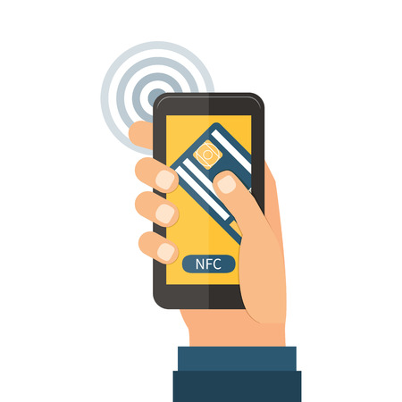 hand holding smart phone: Mobile payments using smartphone and credit card, near field communication technology, online banking. Flat design vector.