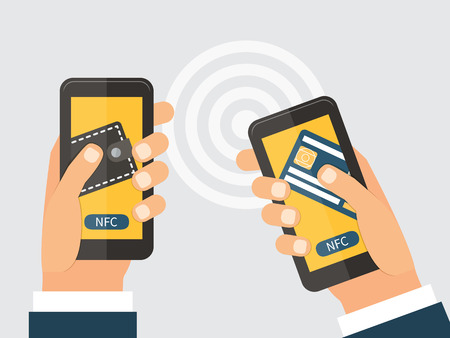 nfc: Online money trasfer concept. Two modern smartphones with credit card and wallet on the screen using NFC. Near field communication technology. Vector flat design