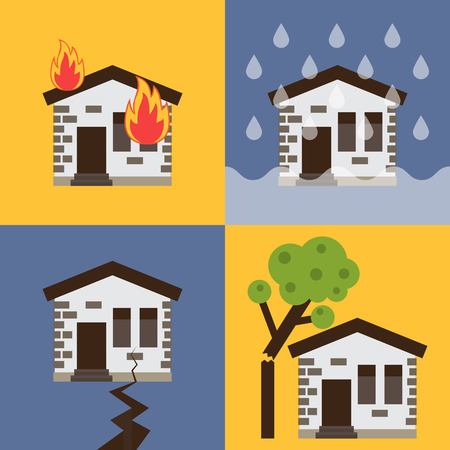 Home insurance business set vector illustration with house icons suffering from nature disaster. Layout template for infographics. Illustration