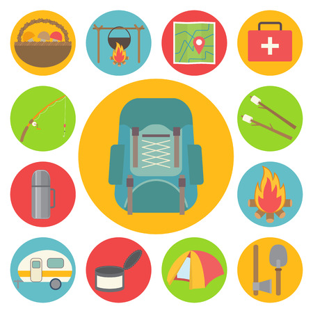 Tourism, hiking, travel and camping equipment flat vector icons.