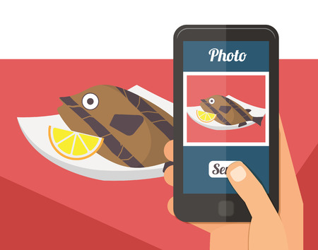 overlook: People taking picture photo of tfish sea food in restaurant with smartphone, selfie shot flat vector illustration Illustration