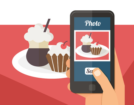 plate camera: People taking picture photo of dessert food latte muffin cupcake in restaurant with smartphone, selfie shot flat vector illustration Illustration