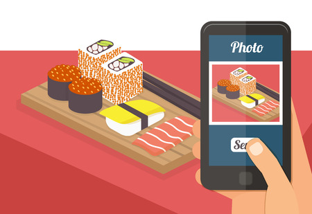 People taking picture photo of their food in restaurant with smartphone, selfie shot flat vector illustration Çizim