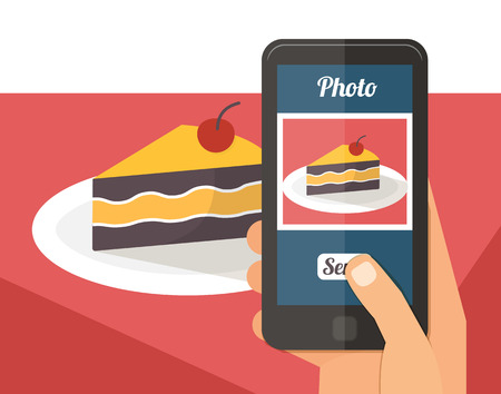 People taking picture photo of dessert food in restaurant with smartphone, selfie shot flat vector illustration Çizim