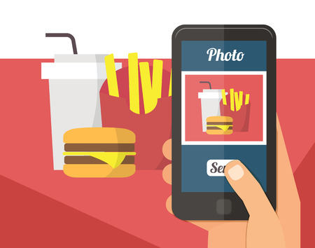 taking picture: People taking picture photo of fast food in restaurant with smartphone, selfie shot flat vector illustration