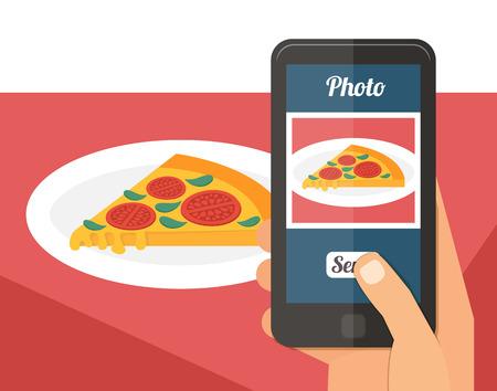 comida italiana: Las personas que toman la foto foto de su comida en el restaurante con el tel�fono inteligente, selfie dispararon ilustraci�n vectorial plana