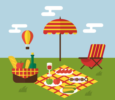 picnic park: BBQ party. Barbecue and grill cooking picnic. Invitation template with food basket, dock chair air ballon Illustration