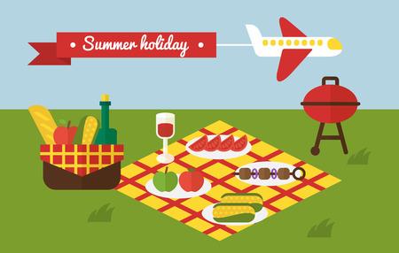 picnic park: BBQ party. Barbecue summer picnic. Invitation template
