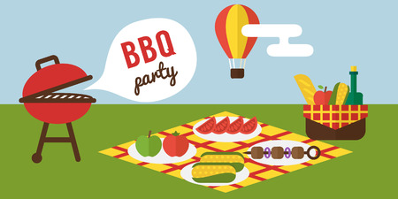 BBQ party. Barbecue summer picnic invitation vector template.