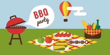 Grillparty. Barbecue Sommer-Picknick Einladung Vektor-Vorlage.