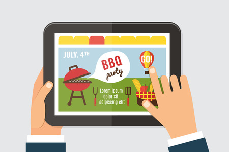 web screen: Summer party invitation template, BBQ picnic. Web site on tab screen with hands holding. 4th of july. Vector illustration.