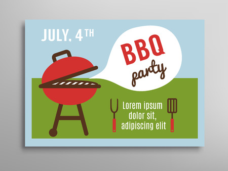 independance: Summer party invitation BBQ picnic. Brochure template. 4th of july. Vector illustration.